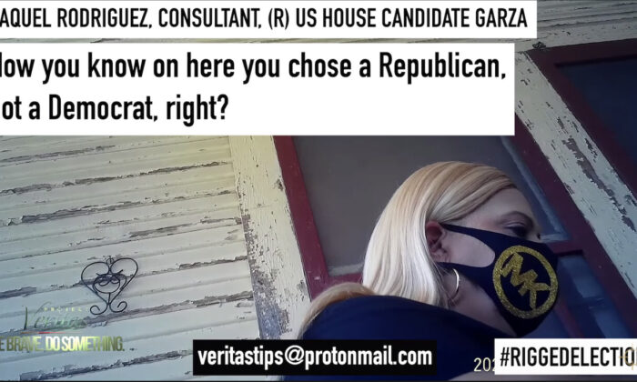 A screenshot from a Project Veritas expose on a woman who allegedly challenged and changed voters' ballots. (Project Veritas/YouTube)