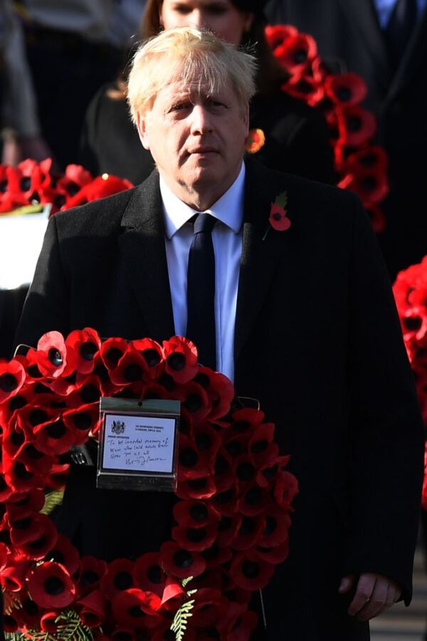 Britain's Prime Minister Boris Johnson taking part in the Remembrance Sunday