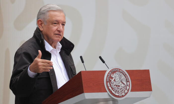 President of Mexico Andres Manuel Lopez Obrador speaks at Palacio Nacional in Mexico City, Mexico, on Sept. 26, 2020. (Hector Vivas/Getty Images)