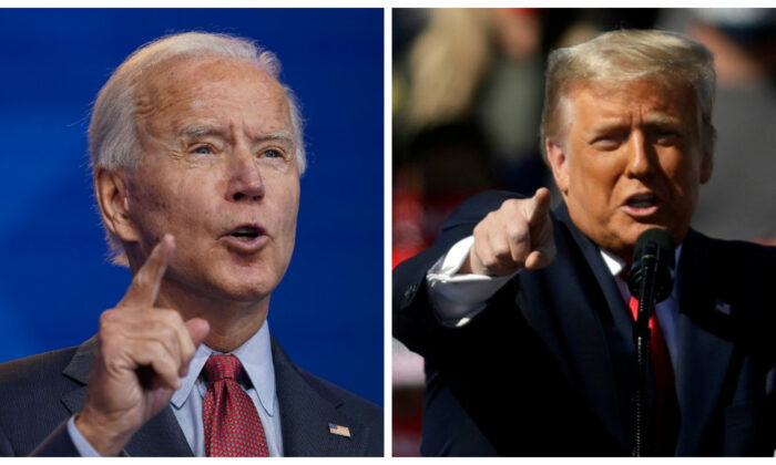 (Left) Democratic presidential nominee Joe Biden delivers remarks about the Affordable Care Act and COVID-19 at The Queen theater in Wilmington, Del. on Oct. 28, 2020. (Right) President Donald Trump speaks during a campaign rally 2020 in Bullhead City, Ariz., on Oct. 28,2020. ((Drew Angerer and Isaac Brekken/Getty Images)