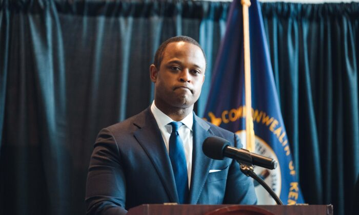 Kentucky Attorney General Daniel Cameron speaks to the media during a press conference in Frankfort, Kentucky, on Sept. 23, 2020. (Jon Cherry/Getty Images)