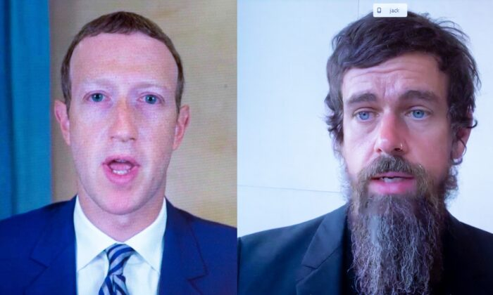 A combined image showing Facebook CEO Mark Zuckerberg (L) and Twitter CEO Jack Dorsey testifying remotely before Congress on Oct. 28, 2020. (Michael Reynolds/Pool/AFP via Getty Images)