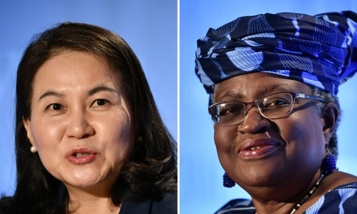 South Korean Trade Minister Yoo Myung-hee (L) in Geneva on July 16, 2020; and Nigerian former Foreign and Finance Minister Ngozi Okonjo-Iweala (R) in Geneva on July 15, 2020, as they give press conferences as part of their application process to head the WTO as Director General. (FABRICE COFFRINI/AFP via Getty Images)
