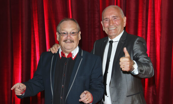 Comedian Bobby Ball (L) and Tommy Cannon (R) attend the British Soap Awards at Media City in Manchester, England, on May 18, 2013. (Tim P. Whitby/Getty Images)