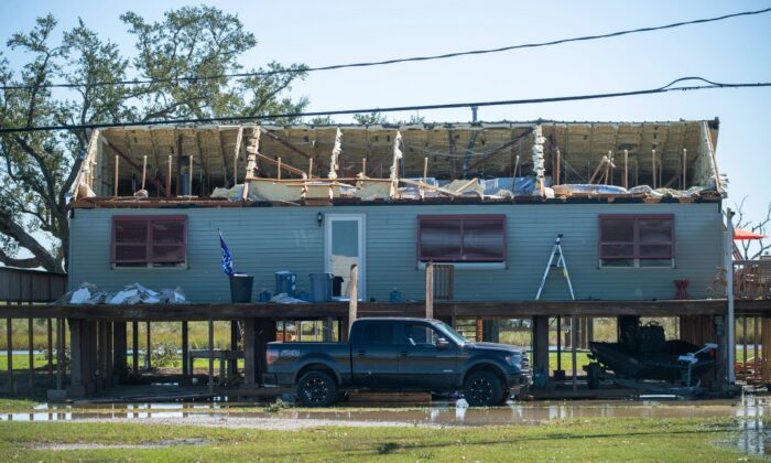 A house is damaged from Hurricane Zeta in Cocodrie, La., on Oct. 29, 2020. (Chris Granger/The Advocate via AP)