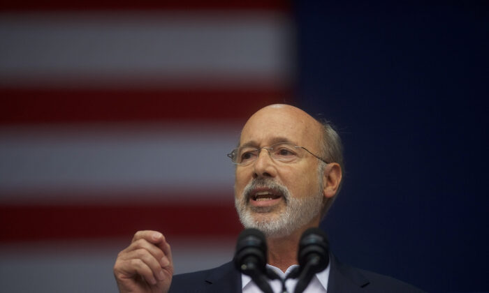 Pennsylvania Governor Tom Wolf addresses supporters for statewide Democratic candidates in Philadelphia, Penn. on Sept. 21, 2018.  (Mark Makela/Getty Images)