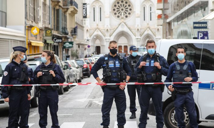 Police block the access to the Notre-Dame de l'Assomption Basilica in Nice on Oct. 29, 2020. (Valery Hache/AFP via Getty Images)