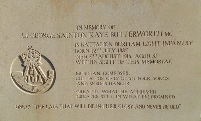An inscription honoring George Butterworth at the Pozières Memorial. (CC BY-SA 4.0)