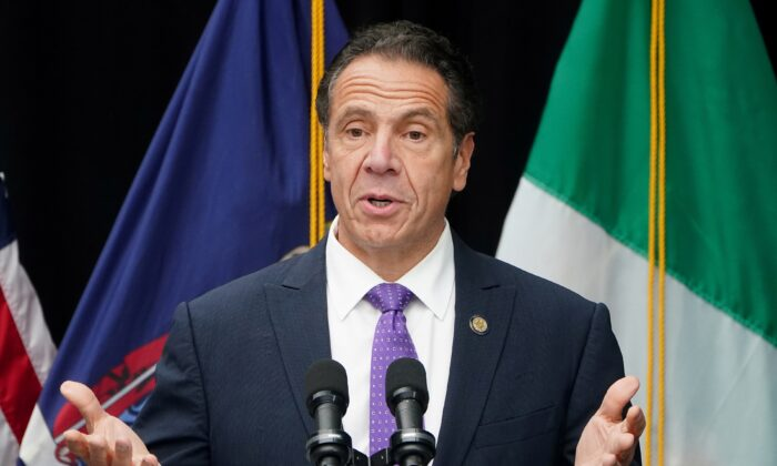 Gov. Andrew Cuomo speaks in the Manhattan borough of New York City on Oct. 12, 2020. (Carlo Allegri/Reuters)