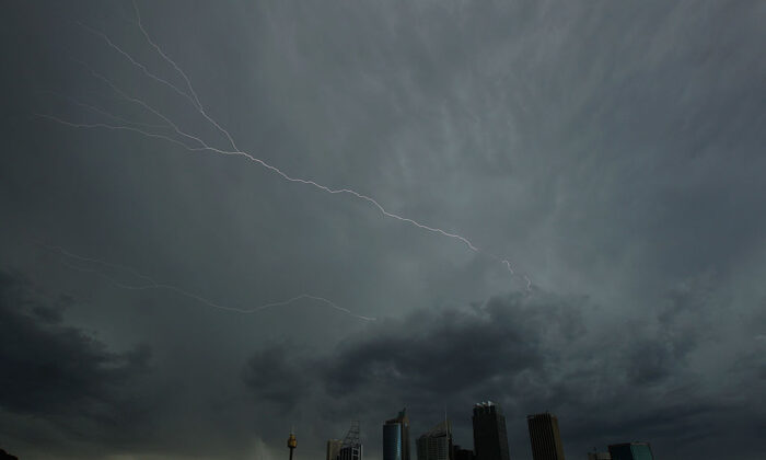 Lightning flashes across the sky over the Sydney central business district as severe thunderstorms hit Sydney on November 8, 2010 in Sydney, Australia.  (Mark Kolbe/Getty Images)