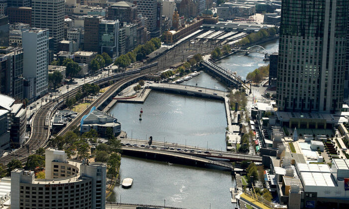 An aerial view of the Yarra River and Melbourne CBD is seen on February 12, 2009 in Melbourne, Australia.  (Mark Dadswell/Getty Images)