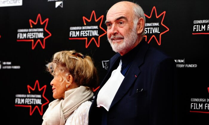 "EIFF patron Sir Sean Connery and his wife Micheline attend the red carpet gala for the film ""Stone of Destiny"" on day four of the Edinburgh International Film Festival at Cineworld on June 21, 2008 in Edinburgh, Scotland (Martin McNeil/Getty Images)"