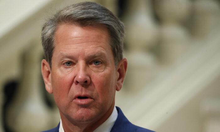 Georgia Gov. Brian Kemp speaks during a COVID-19 briefing at the Capitol in Atlanta on July 17, 2020. (John Bazemore/AP Photo)