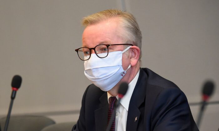 Minister for the Cabinet Office Michael Gove attends a meeting at the EU headquarters in Brussels, Belgium, on Sept. 28, 2020. (John Thys/ Pool/AFP via Getty Images)