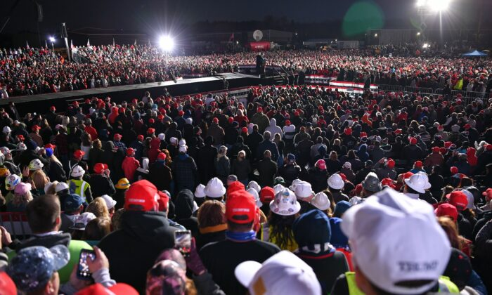 President Donald Trump speaks during a rally at Pittsburgh-Butler Regional Airport in Butler, Pa., on Oct. 31, 2020. (Mandel Ngan/AFP via Getty Images)
