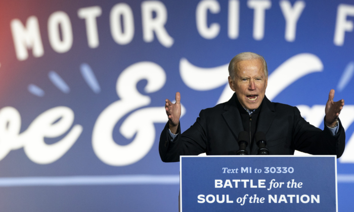 Democratic presidential nominee Joe Biden speaks during a drive-in campaign rally at Belle Isle in Detroit on Oct. 31, 2020. (Drew Angerer/Getty Images)