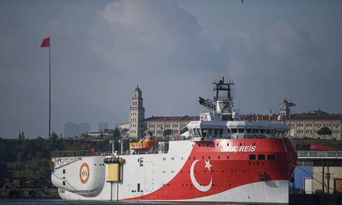 Turkish General Directorate of Mineral research and Exploration's (MTA) Oruc Reis seismic research vessel docked at Haydarpasa port in Istanbul, on August 23, 2019, which searches for hydrocarbon, oil, natural gas and coal reserves at sea. (Ozan Kose/AFP via Getty Images)