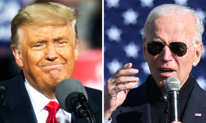 President Donald Trump (L) speaks to supporters during a rally in Montoursville, Pa., on Oct. 31, 2020. Democratic presidential candidate Joe Biden (R) speaks at a campaign event in Flint, Mich., on Oct. 31, 2020. (Eduardo Munoz Alvarez and Jim Watson/AFP via Getty Images)