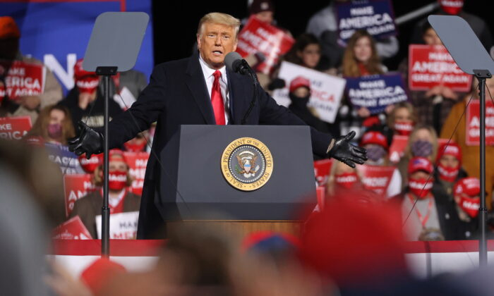 President Donald Trump rallies with supporters at a campaign event in Montoursville, Pa., on Oct. 31, 2020. (Jonathan Ernst/Reuters)