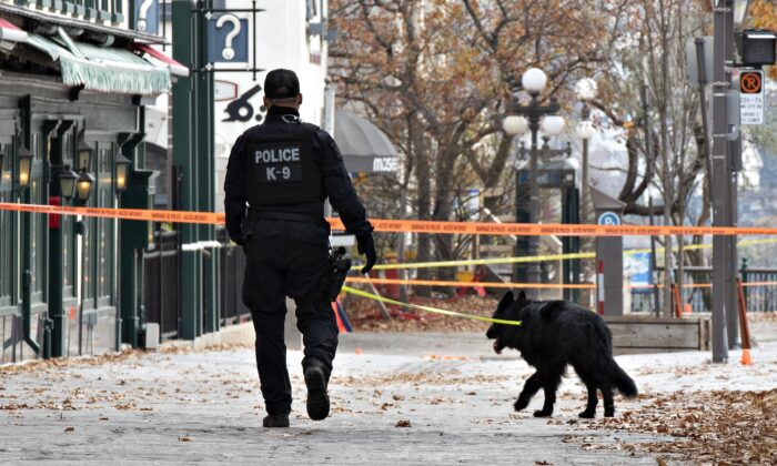 A K-9 unit police officer walks one of several sites of stabbings in Quebec City, Sunday, Nov. 1, 2020. THE CANADIAN PRESS/Jacques Boissinot