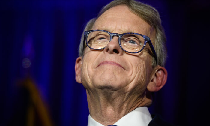 Ohio Governor Mike DeWine gives his victory speech after winning the Ohio gubernatorial race at the Ohio Republican Party's election night party at the Sheraton Capitol Square on Nov. 6, 2018 in Columbus, Ohio. (Justin Merriman/Getty Images)