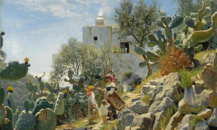 "A detail of  ""At Noon on a Cactus Plantation in Capri,"" 1885, Peder Mork Monsted. Oil on Canvas, 64 1/4 inches by 48 inches. Private Collection. (Public Domain)"