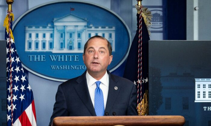 Health and Human Services Secretary Alex Azar addresses the media during a press conference in the James S. Brady Briefing Room at the White House in Washington on Aug. 23, 2020. (Pete Marovich/Getty Images)