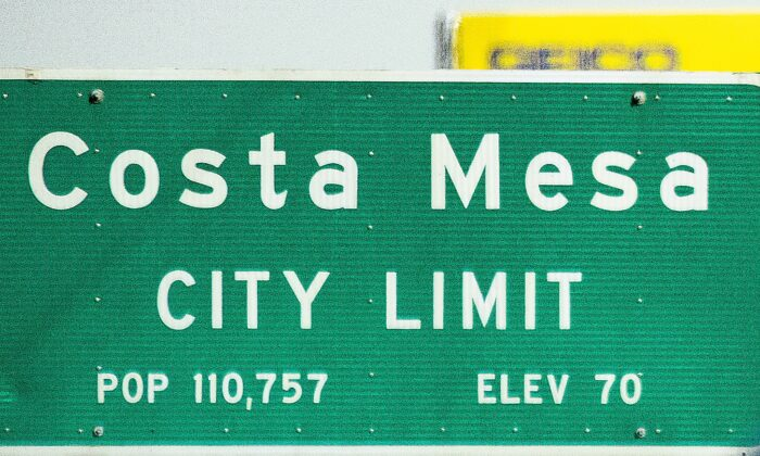 A file photo of a sign marking the city limit of Costa Mesa, Calif., on Oct. 26, 2020. (John Fredricks/The Epoch Times)