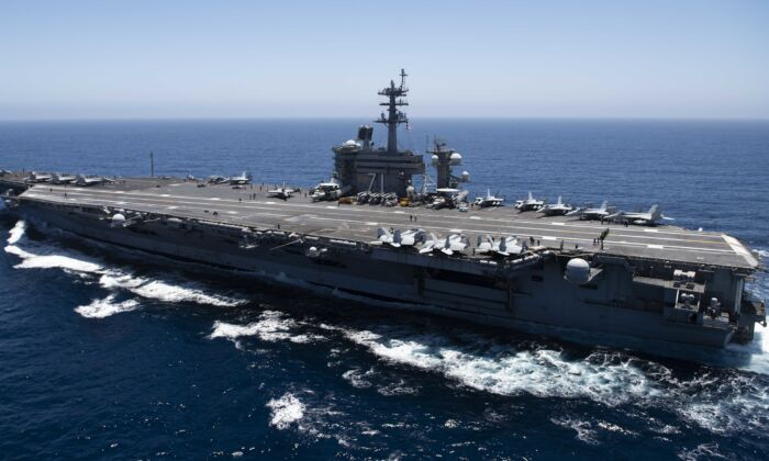 The aircraft carrier USS Theodore Roosevelt (CVN 71) transits the Pacific Ocean. (U.S. Navy via Getty Images)