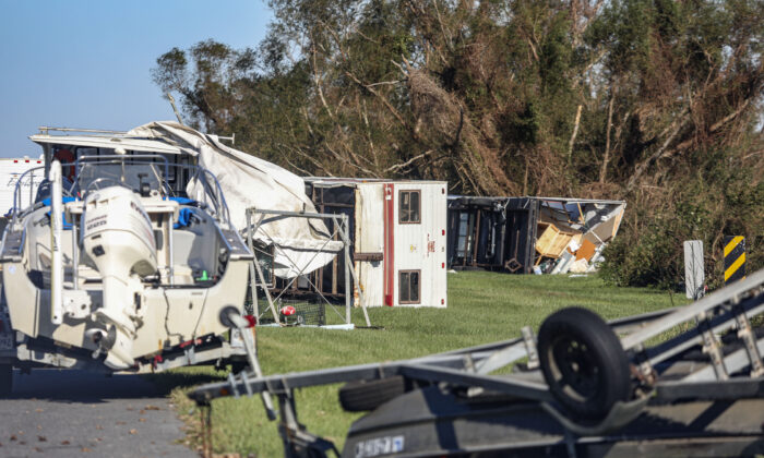 Overturned trailers sit along LA-46 after Hurricane Zeta 2020 in Reggio, La., on Oct. 29, 2020. (Sandy Huffaker/Getty Images)