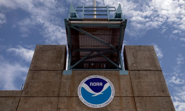 The logo of the National Oceanic and Atmospheric Administration (NOAA) is seen at the National Hurricane Center in Miami, Fla., on Aug. 29, 2019. (Eva Marie Uzcategui/Getty Images)