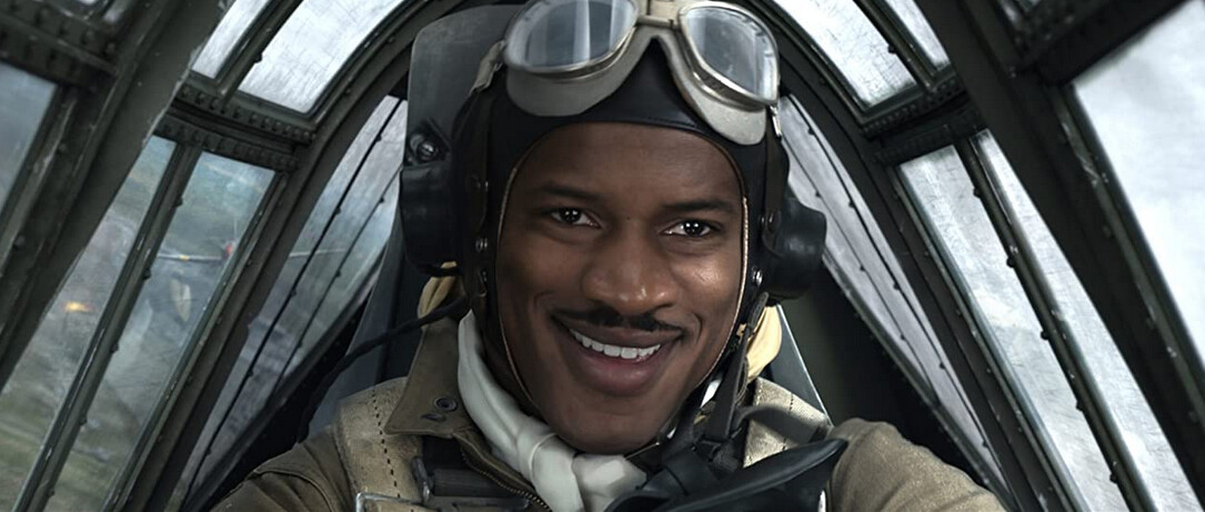 """black pilot in WWII warplane cockpit in """"Red Tails"""""""