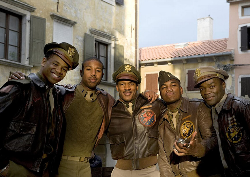 "black pilots pose for photo op in ""Red Tails"""