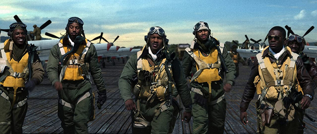 "black pilots on the aircraft carrier flight deck in ""Red Tails"""