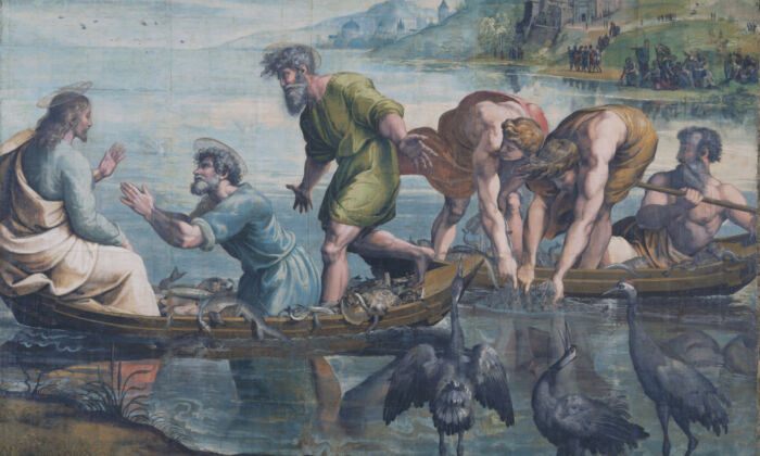 """Detail of """"The Miraculous Draught of Fishes (Luke 5: 1–11),"""" 1515–16, by Raphael.Body color on paper, laid onto canvas. (Victoria and Albert Museum, London/Courtesy Royal Collection Trust/Her Majesty QueenElizabeth II 2020)"""
