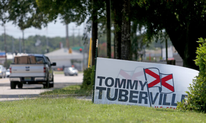 A Tommy Tuberville campaign sign on Three Notch Road in Mobile, Ala., on July 14, 2020. (Michael DeMocker/Getty Images)