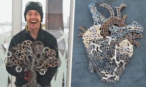 Meet the Talented Artist Who Creates Stunning Metallic Sculptures From Old Bicycle Chains