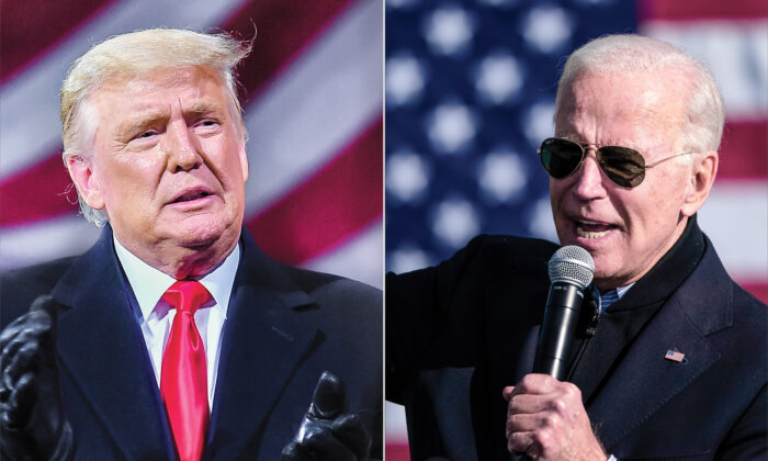 (L) President Donald Trump at a rally in Montoursville, Pa., on Oct. 31, 2020. (R) Democratic presidential nominee Joe Biden during a drive-in campaign rally in Flint, Mich., on Oct. 31, 2020. (Getty Images)