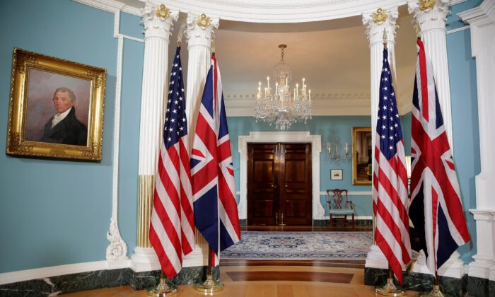 The flags of the United States and the United Kingdom stand side by side at the State Department in Washington, on March 22, 2017. (Joshua Roberts/Reuters)