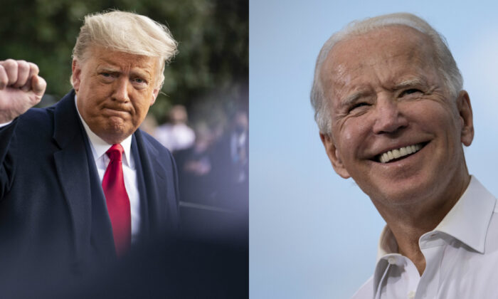 President Donald Trump (L) speaks to the press outside of the White House in Washington on Oct. 30, 2020. (R) Democratic presidential nominee Joe Biden speaks during a drive-in campaign rally in the parking lot of Cellairis Ampitheatre in Atlanta, Ga., on Oct. 27, 2020. (Sarah Silbiger and Drew Angerer/Getty Images)