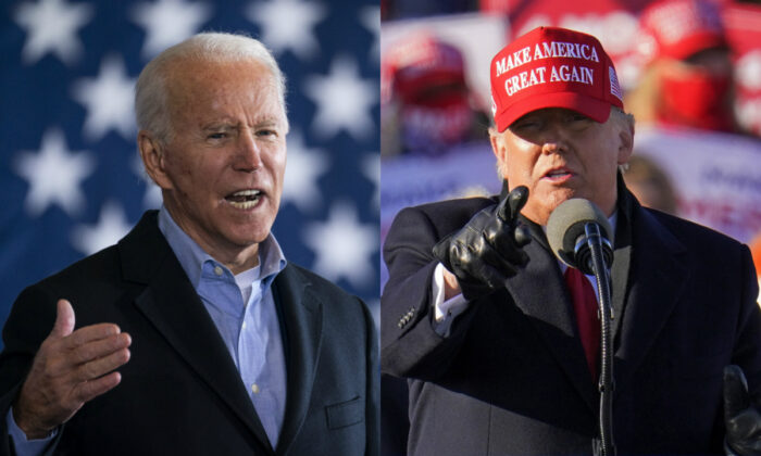 On left, Democratic presidential nominee Joe Biden speaks at a get-out-the-vote drive-in rally at Cleveland Burke Lakefront Airport in Cleveland, Ohio, on Nov. 2, 2020. On right, President Donald Trump gestures while addressing a campaign rally at the Wilkes-Barre Scranton International Airport in Avoca, Pa., Nov. 2, 2020. (Drew Angerer/Getty Images; Gene J. Puskar/AP Photo)