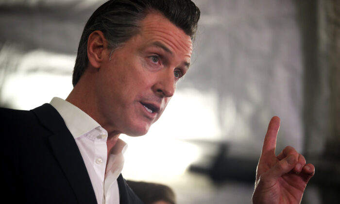 California Gov. Gavin Newsom speaks during a a news conference about the state's efforts on the homelessness crisis in Oakland, Calif., on Jan. 16, 2020. (Justin Sullivan/Getty Images)