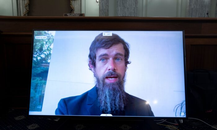 Twitter CEO Jack Dorsey testifies remotely during a hearing to discuss reforming Section 230 of the Communications Decency Act with big tech companies, by video, in Washington on Oct. 28, 2020. (Michael Reynolds/Pool/AFP via Getty Images)