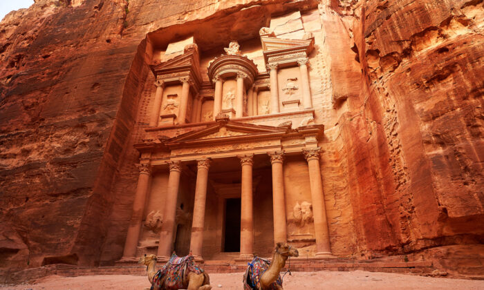 People once believed treasures were stored in the urn atop Al-Khazneh (the Treasury) entrance at Petra in Jordan.