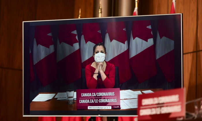 Minister of Finance Chrystia Freeland takes part via video conference as an update is provided during the COVID pandemic in Ottawa on Nov. 3, 2020. (Sean Kilpatrick/The Canadian Press)