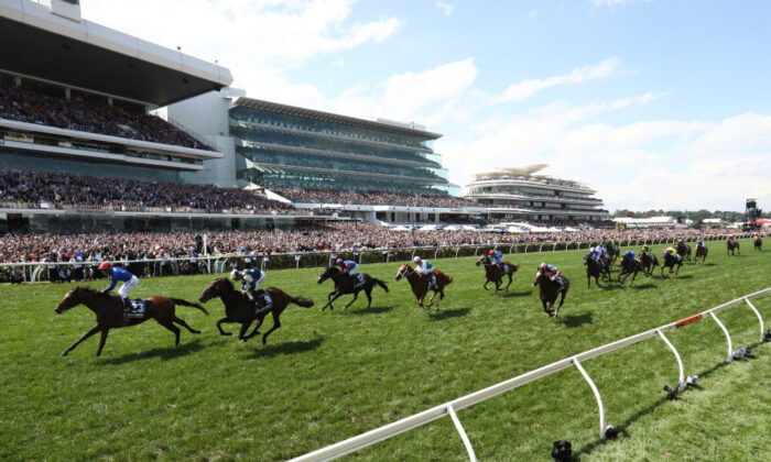 Kerrin McEvoy rides #23 Cross Counter to win race seven the Lexus Melbourne Cup during Melbourne Cup Day at Flemington Racecourse on November 06, 2018 in Melbourne, Australia. (Robert Cianflone/Getty Images)