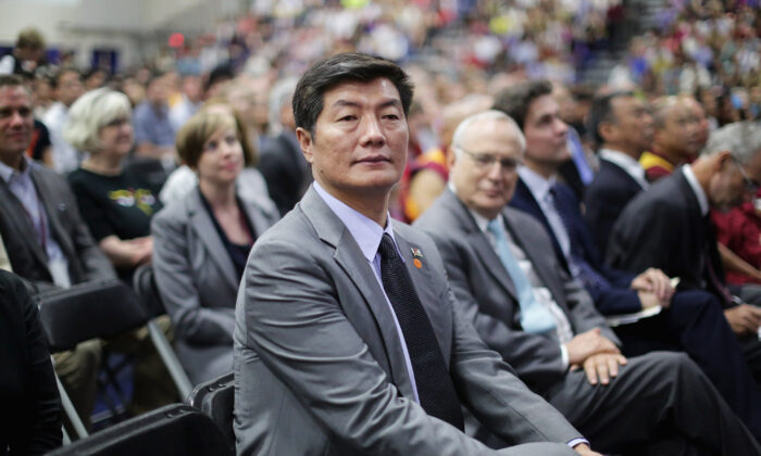 Lobsang Sangay, the president of the Tibetan government-in-exile, attends an event with the Dalai Lama at the Bender Arena on the campus of American University in Washington on June 13, 2016. (Chip Somodevilla/Getty Images)
