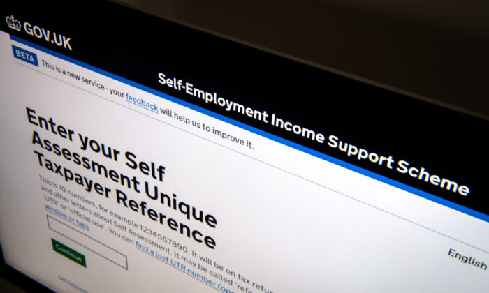 A screen displays the Self-Employment Income Support Scheme (SEISS) application webpage on Aug. 17, 2020 in London.  (Leon Neal/Getty Images)