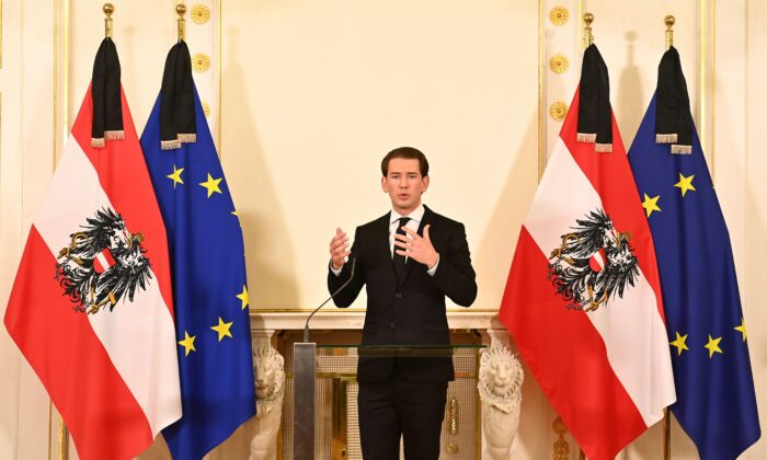 Austrian Chancellor Sebastian Kurz addresses a press conference at the Chancellery in Vienna on Nov. 3, 2020, (Joe Klamar/AFP via Getty Images)
