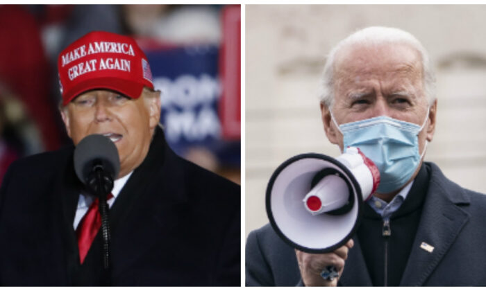 President Donald Trump (L) speaks during a rally in Grand Rapids, Mich., on Nov. 3, 2020. (Kamil Krzaczynski/Getty Images); Democratic presidential nominee Joe Biden (R) speaks to supporters at a canvass kickoff event at Local Carpenters Union 445 in Scranton, Pa., on Nov. 3, 2020. (Drew Angerer/Getty Images)